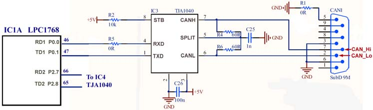 A Node Schematic: This is the schematic diagram from the Keil MCB1700 evaluation board.