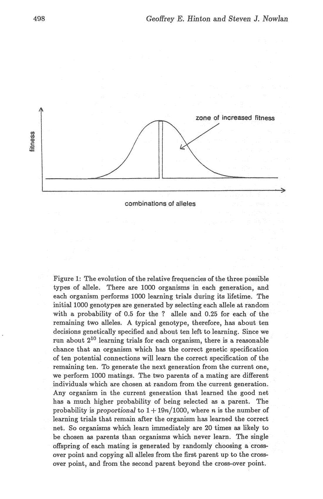 498 Geoffrey E. Hinton and Steven J. Nowlan zone of increased fitness combinations of alleles Figure 1: The evolution of the relative frequencies of the three possible types of allele.