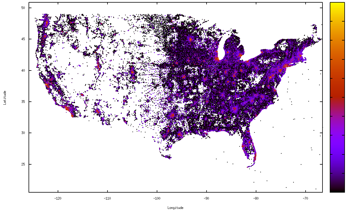 Figure 1: US population density of geolocated Facebook users. Figure 2: NY population density of geolocated Facebook users. IPs within 25 miles, with performance of only 59% in the UK [16].