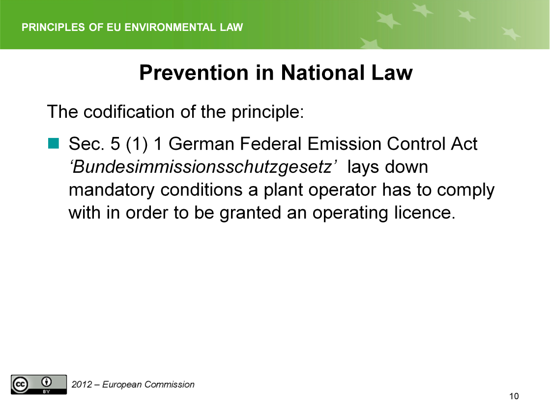 Slide 10 In Germany the preventive approach is
