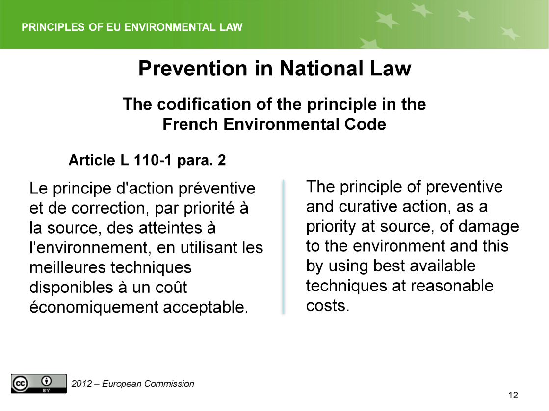 Slide 12 The principle is also enshrined in the French Environmental Code.
