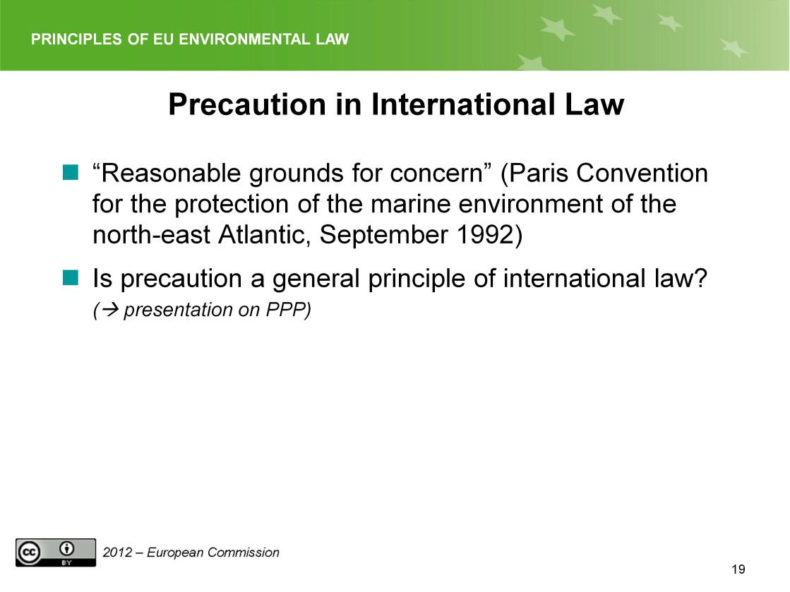 Slide 19 The wording may be different, like in the Paris Convention 1992, but usually the principle is limited in International law to situations where there is Threat of serious damage or reasonable