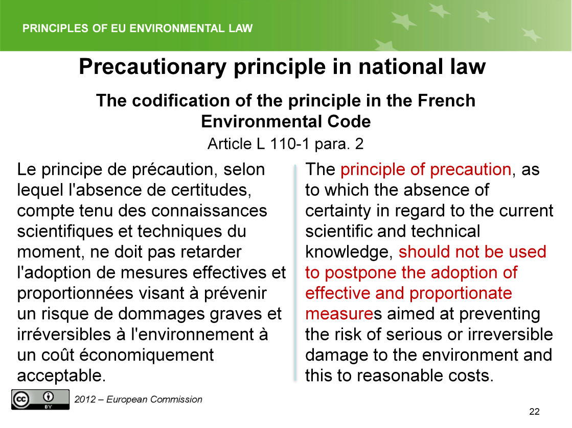 Slide 22 The principle in French law.