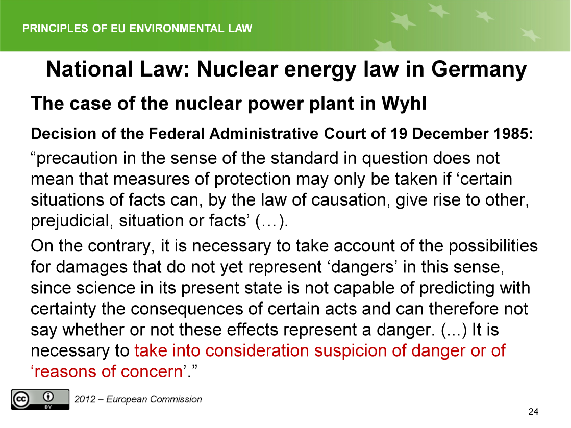Slide 24 The slide shows the application of the principle in German nuclear energy law.