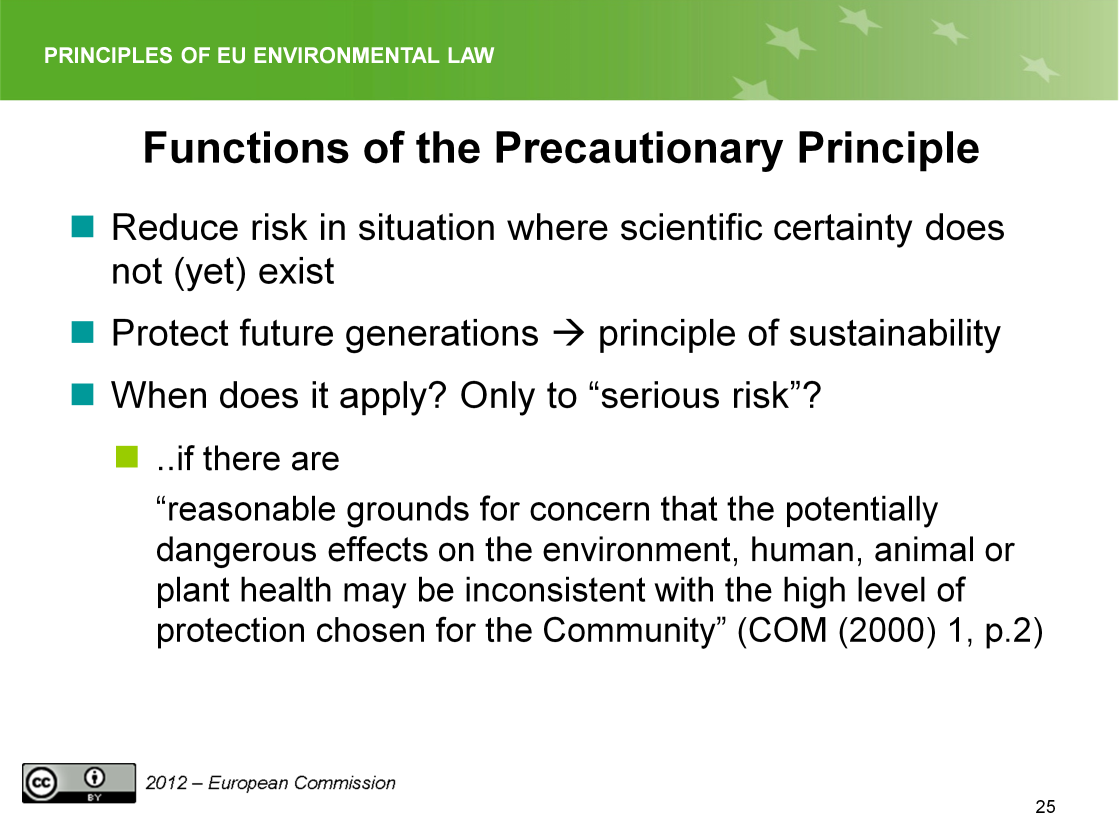 Slide 25 Generally, the function of the precautionary principle is very close to the function of the preventive principle.