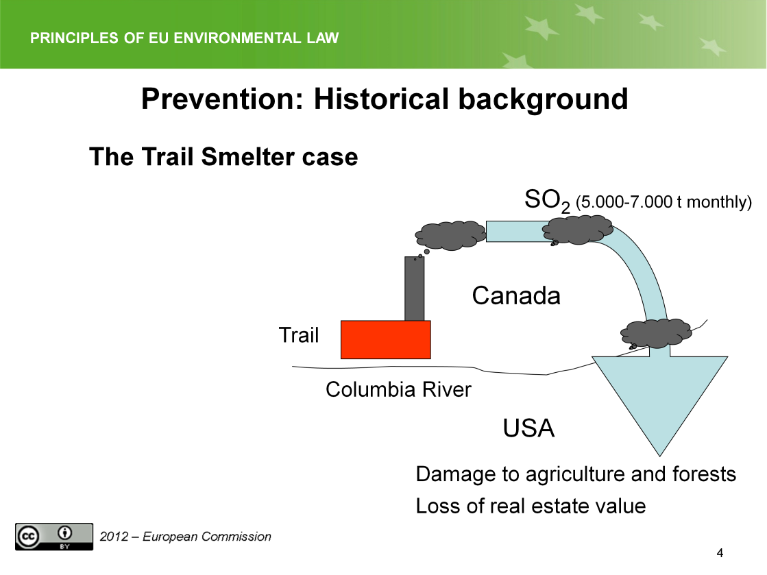 Slide 4 The slides summarizes the facts of the case. The village Trail is located in British Columbia, Canada, near the border to the United States, at the Columbia River.