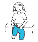 With the child standing, use stronger arm to pull the pants from the back.