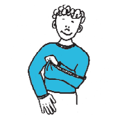 Taking off pull-over shirts (t-shirts, sweaters) KEY STRATEGY: Remove stronger arm from