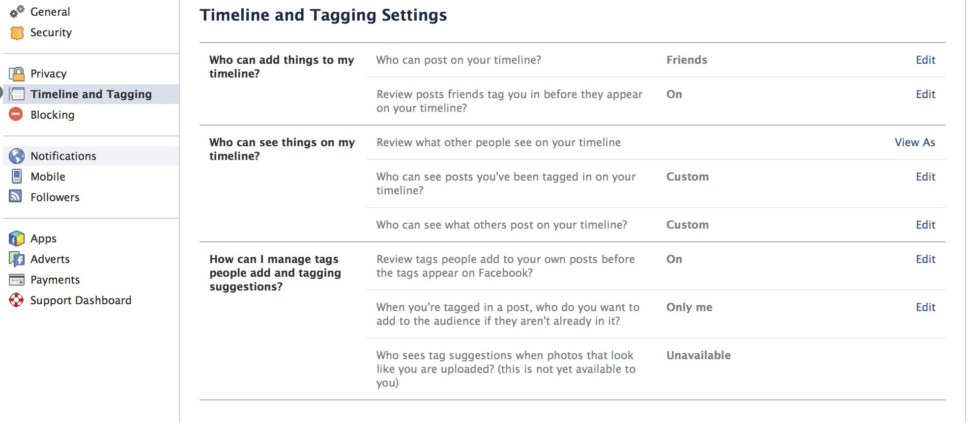 wise to enable the reviewing of tags before they are added to Facebook, it maintains your control over the audience for your posts. Set this to On.
