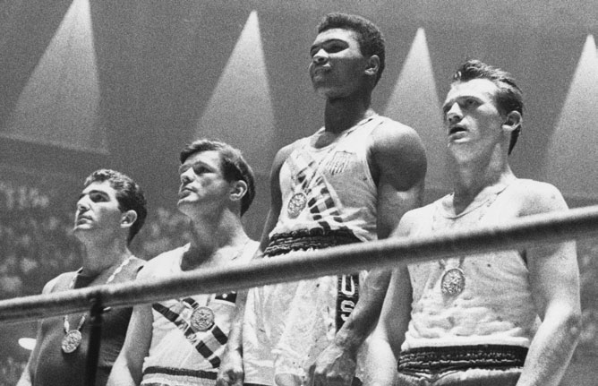 10 HOPE exhibition 2. Proclaiming equality LEVEL 0 Touch screens Exit Drawing inspiration from legends Muhammad Ali on the podium at the Rome Games in 1960.