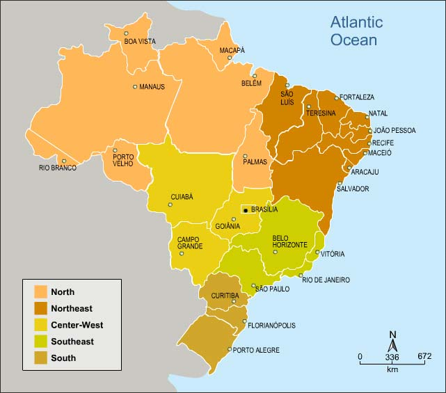 Figure 2: Map of Brazil showing major regions, states and state capitals This broad-based analysis suggests several considerations relevant to macro-level policy formulation in countries currently