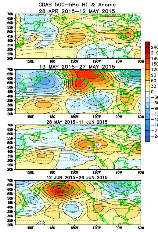 Atmospheric anomalies over the North Pacific and North America During the Last 60 Days From May June 2015,