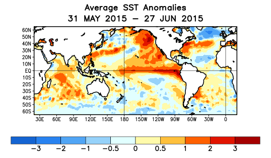 Global SST Departures ( o C) During the Last Four Weeks During the last four weeks,