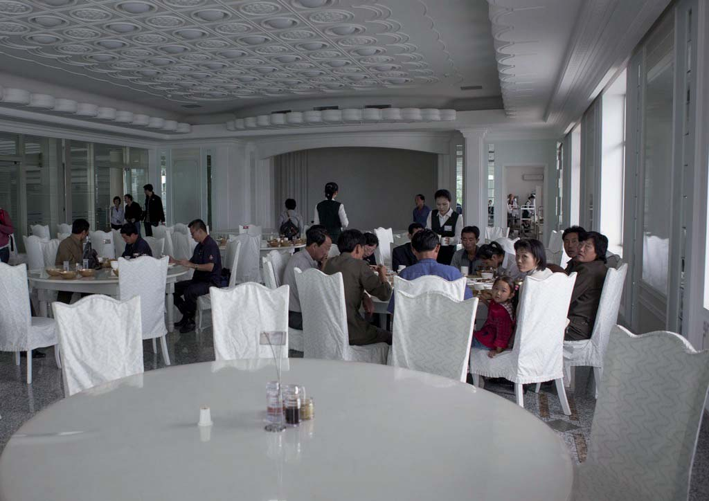 Brand new restaurants have opened along the Taedong River in the new center of Pyongyang.