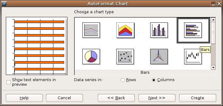 Starting the Process Click Next >>, and choose the Chart type: Illustration 4: Choose chart type Choose the horizontal