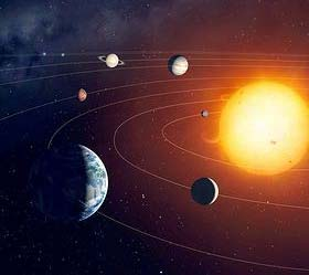 ANCILLARY MATERIAL Figure 1 Solar System Picture Description: This picture shows the solar system. The Sun, on the right-hand side of the picture, is the largest sphere, or ball-like shape.