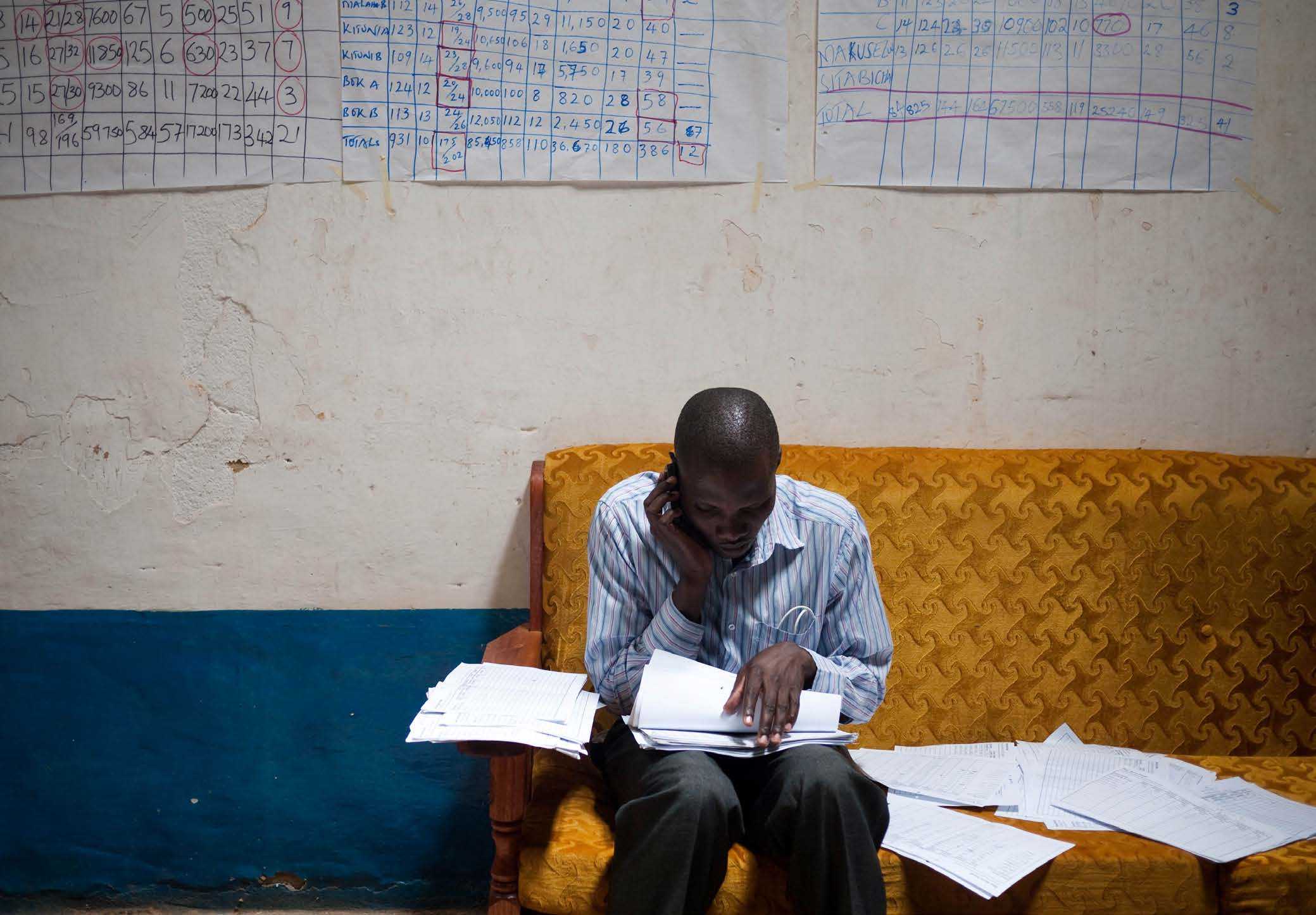 5. A data revolution: the future Survey agent at staff meeting in Bungoma, Kenya. Photo: Lukas Bergstrom.