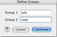 Here type in the names of the months, to be used as the two independent groups of data.