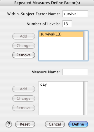 "The next dialog shows all the 13 levels of the ""survival"" factor, named as ""day""."