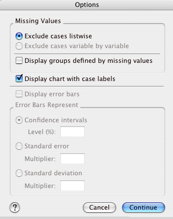 "For these labels to show up on the chart, click the Options button and select ""Display chart with case labels""."