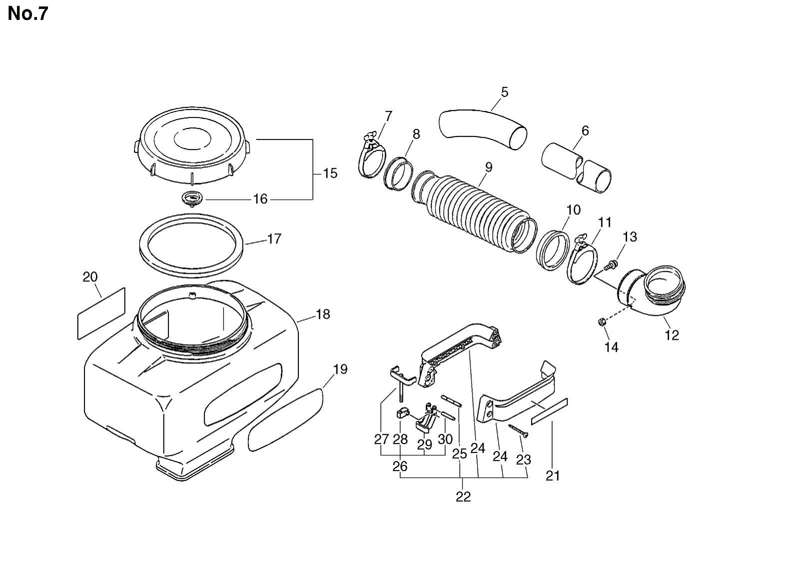 Date:24.11.2008 Page: 2 Group:Duster/Mist Blowers Model:DM-4610(SrNr 004334 and before) Section:Chemical Tank 25 + 250914-06210 2 PIN, TANK HOLDER 26 + 250902-06310 2 BRACKET ASSY, C.