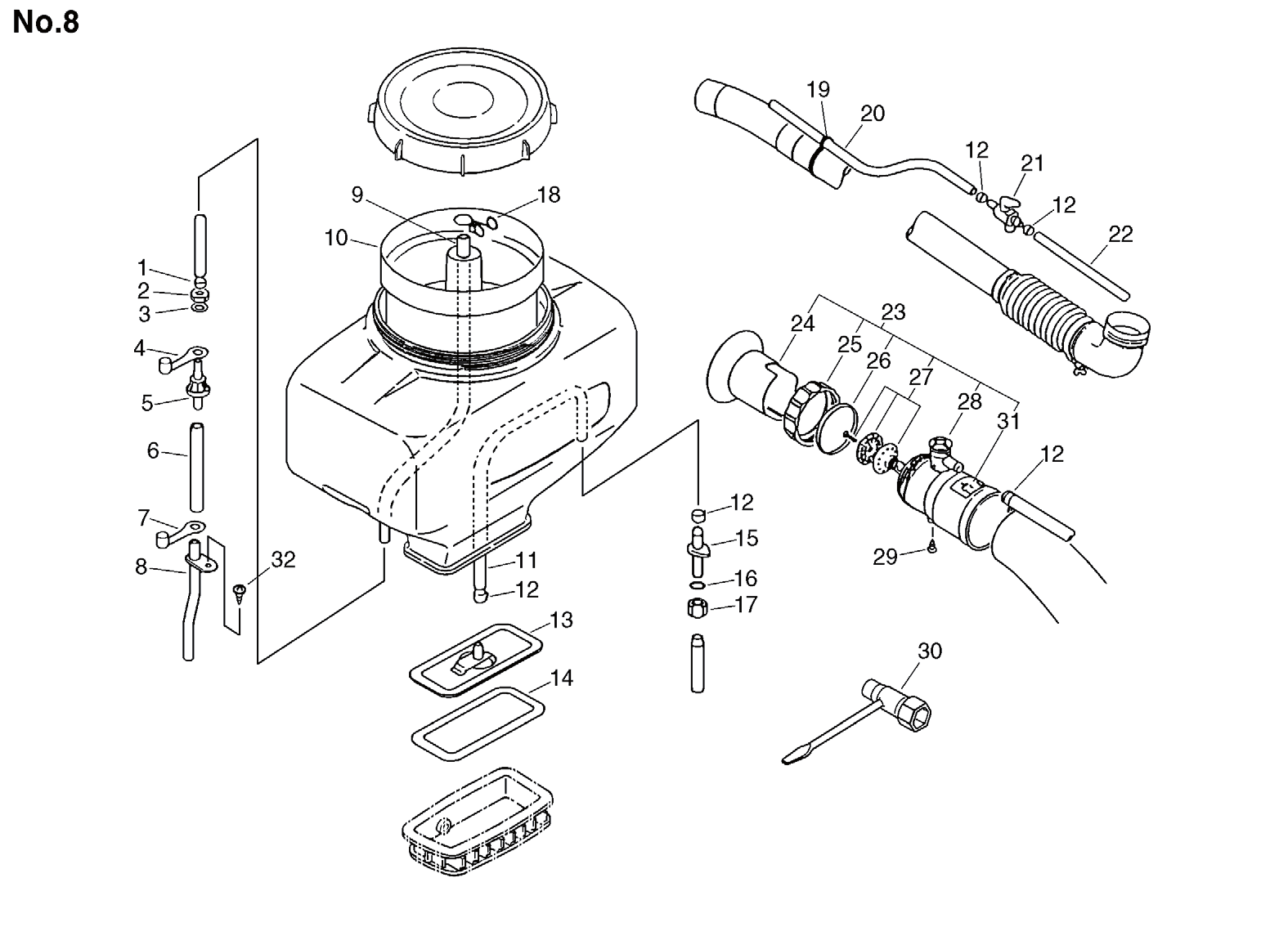 Group:Duster/Mist Blowers Model:DM-4610(SrNr 004334 and before) Section:Mist Blower, Tool Group:Duster/Mist Blowers Model:DM-4610(SrNr 004334 and before) Section:Carburetor 124200-06410 1 CARBURETOR