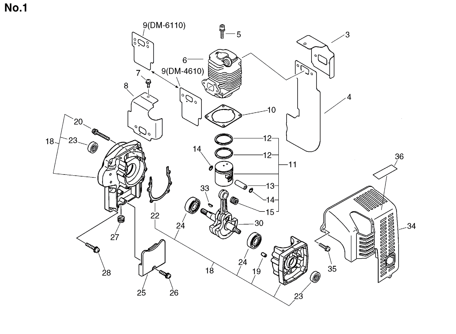 Group:Duster/Mist Blowers Model:DM-4610(SrNr 004334 and before) Section:Cylinder, Crankcase, Piston Group:Duster/Mist Blowers Model:DM-4610(SrNr 004334 and before) Section:Dust
