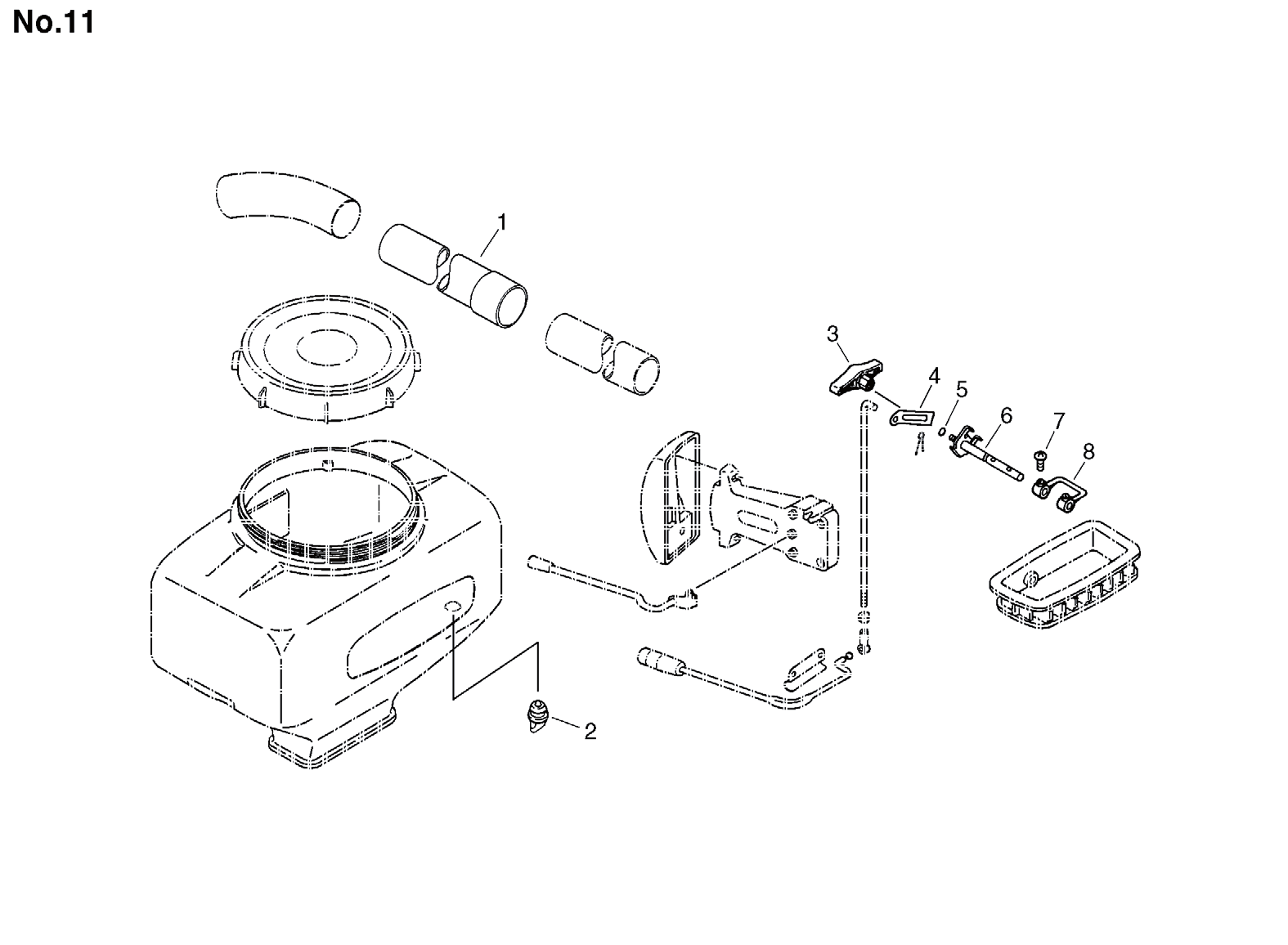 Group:Duster/Mist Blowers Model:DM-4610(SrNr 004334 and before) Section:Dust Attachment(DMAD-4610)-2 Group:Duster/Mist Blowers Model:DM-4610(SrNr 004334 and before) Section:Air Cleaner, Fuel Tank 4