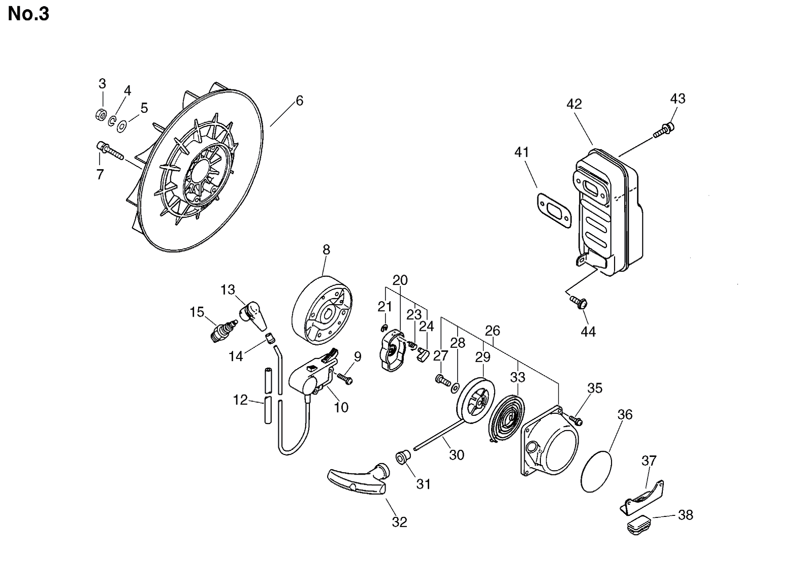 Group:Duster/Mist Blowers Model:DM-4610(SrNr 004334 and before) Section:Starter, Magneto, Muffler Group:Duster/Mist Blowers Model:DM-4610(SrNr 004334 and before) Section:Fan Case, Lower Tank 4