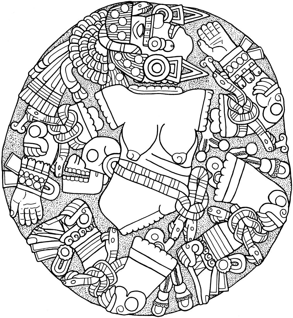 Figure 6. Relief of Coyolxauhqui ( Painted with Bells ), andesite, 325 cm, Museo del Templo Mayor. Drawing by Emily Umberger.