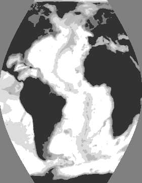 22 CHAPTER 3. THE PHYSICAL SETTING 9 o 6 o 3 o -3-6 o -9 o -8 o -4 o o 4 o -4-3 -1-2 Figure 3.1 The Atlantic Ocean viewed with an Eckert VI equal-area projection.