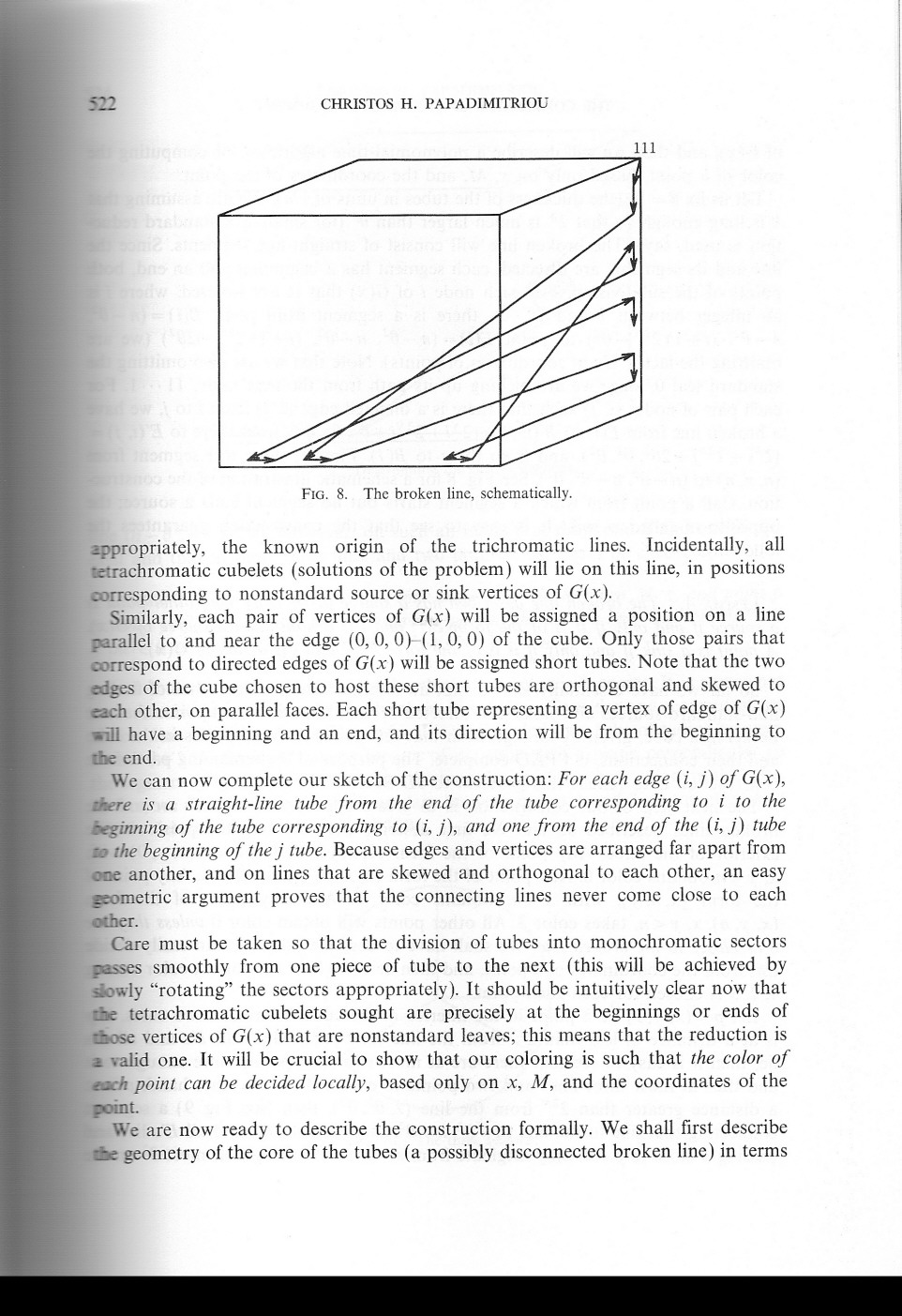512 CHRISTOS H. PAP ADIMITRIOU III FIG. 8. The broken line, schematically. ~propriately, the known origin of the trichromatic lines.