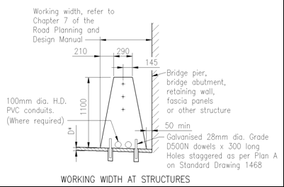 Chapter 6: Additional requirements to AS 5100 bridge code PART 2 : DESIGN LOADS The TL5 barrier shall be extended beyond the ends of bridge substructure, for at least the minimum lengths determined,