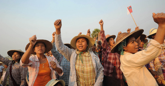 15 Below: The Myanmar government has used repressive protest laws to imprison activists against the Letpadaung copper mine.