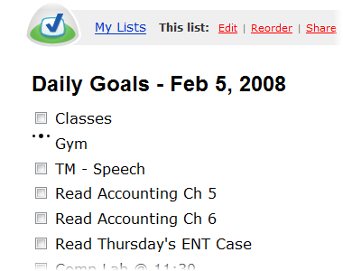 Checking my Daily Goals regularly and my Weekly Goals