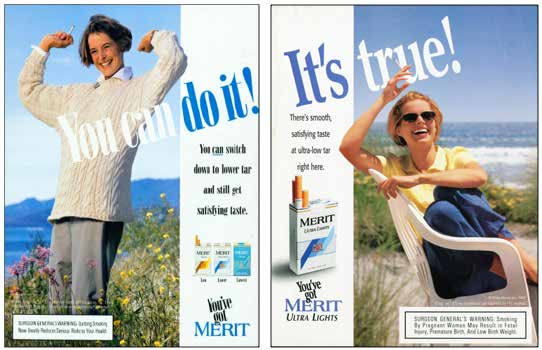 These Merit ads from the 1990s associated smoking with being in the fresh outdoors. Both ads evoke a sense of relaxation and freedom. (Source: Stanford Research into the Impact of Tobacco Advertising.