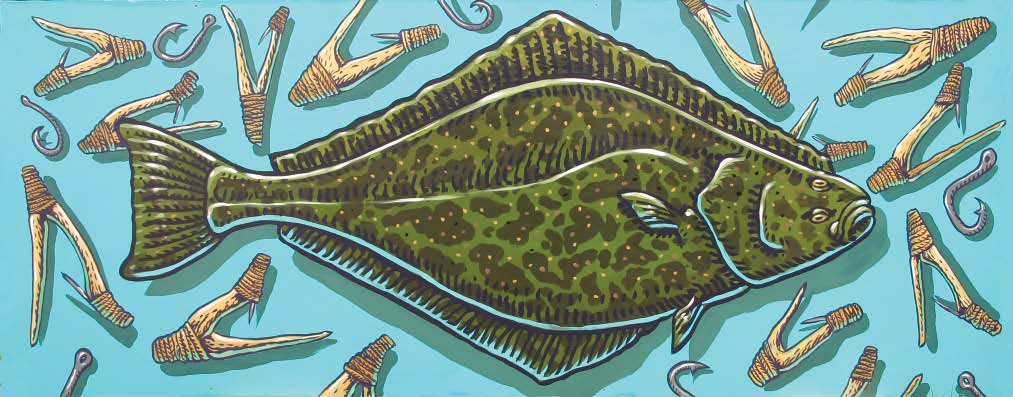 Halibut painting by Ray Troll 3 8 C (37 46 F). However, in a study off eastern Kamchatka, most fish were found in 7 11 C (45 52 F).