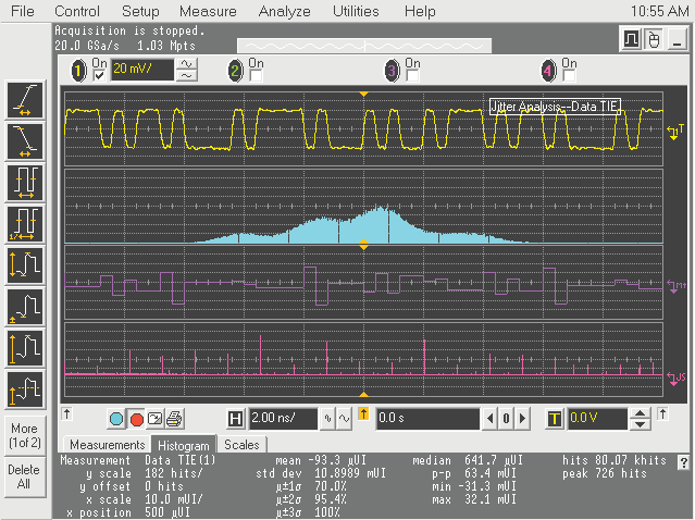 TIE analysis on a real-time oscilloscope Real-time oscilloscopes are the best tool for assembling the time interval error (TIE) data set.