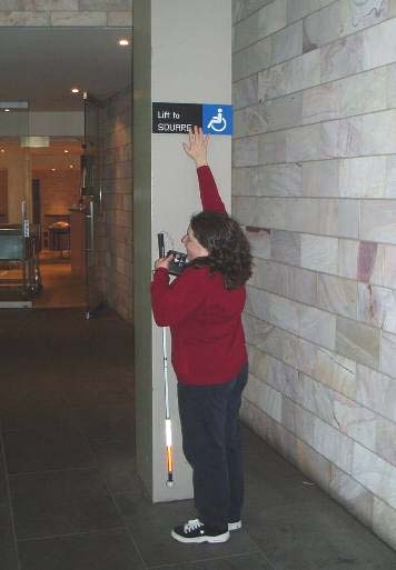 Braille and tactile sign location Signs should be at an accessible height - between 1200 mm and 1600 mm from