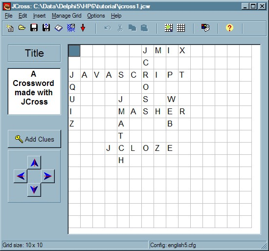 The main JCross screen This is the main screen of JCross. Click on the graphic for more information on each item.