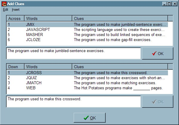 JCross configuration details Most of the configuration options for JCross are the same as those in the other programs. Exceptions are crossword labels such as Clues Across and Clues Down.