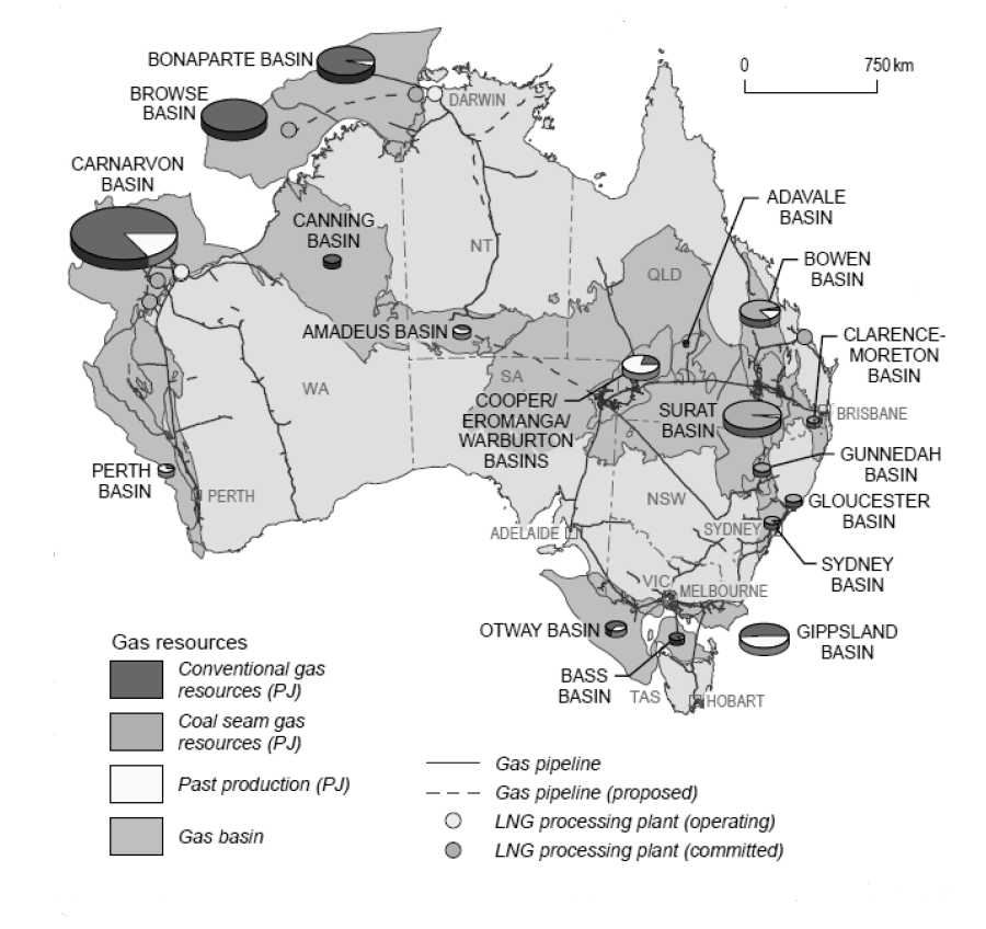 Figure 3.2 Australia s major gas resources and infrastructure a a Excludes the Joint Petroleum Development Area in the Timor Sea. Source: BREE (2014d).