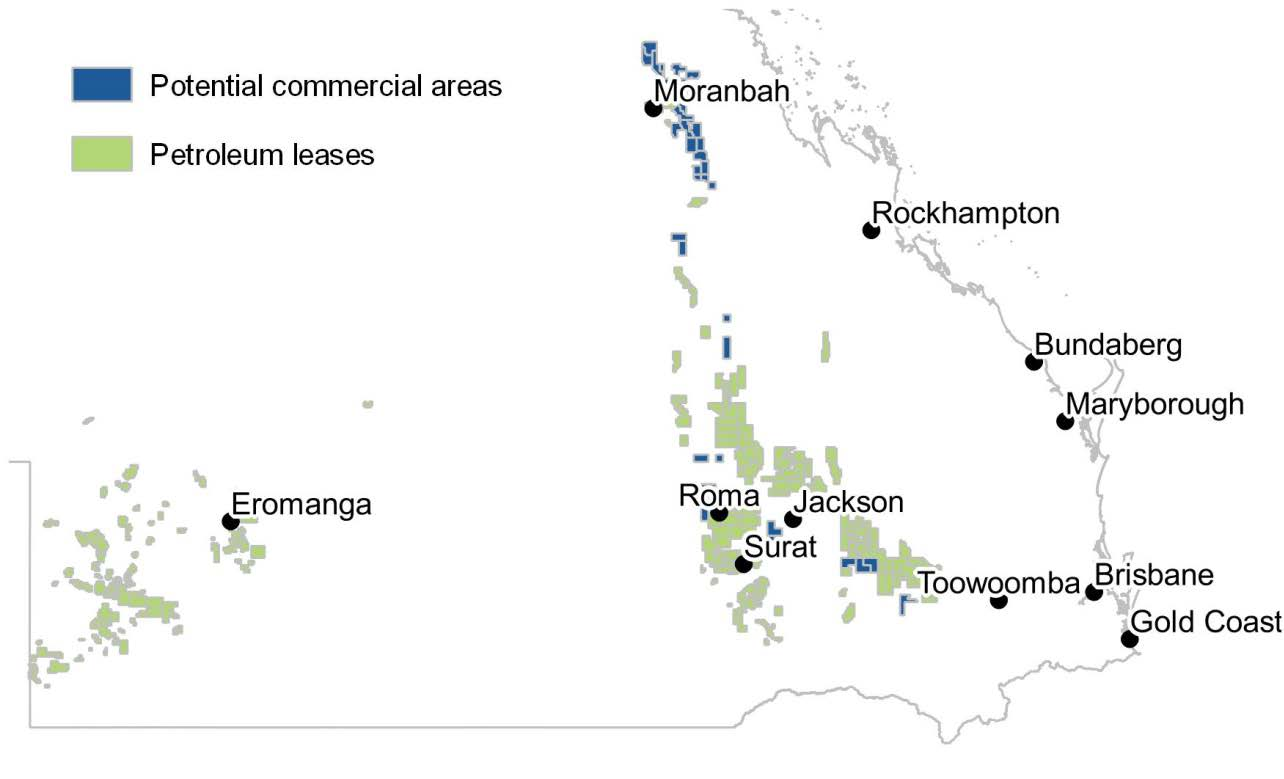 Figure 4.1 Current onshore petroleum licences in Queensland a, b a Petroleum leases give holders the right to explore for, test for the production of, and produce, petroleum.