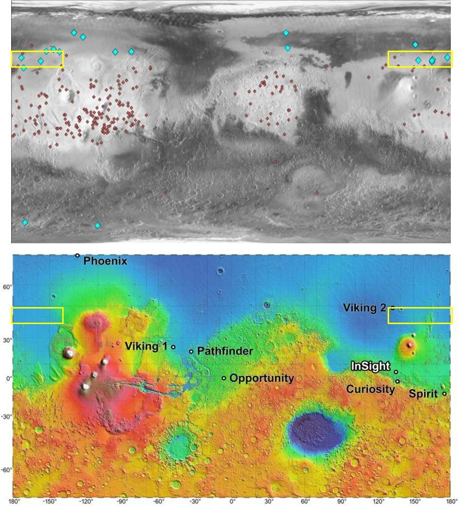 Figure 3.2-1. Upper image show infrared imagery with light colored diamonds indicating fresh icy craters (Image credit NASA/JPL- Caltech). Dark diamonds indicate fresh craters without signs of ice.