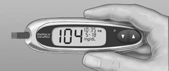 Read your result on the meter Your blood glucose level appears on the display, along with the unit of measure, and the date and time of the test.