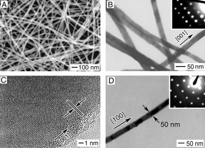 Fig. 12. A) An SEM image of a-ag 2 Se nanowires obtained by reacting t-se nanowires with an aqueous AgNO 3 solution.