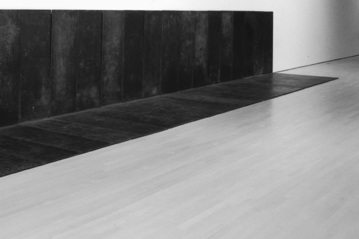 41 Carl Andre, Fall (1968), installed at the Guggenheim Museum SoHo for the exhibition Selections from the