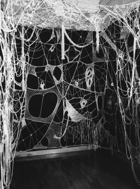 UNHINGING OF SITE SPECIFICITY 45 < Faith Wilding, Womb Room (Crocheted Environment), installed at Womanhouse, Los Angeles, 1972. (Photo by Lloyd Hamrol; courtesy the artist.