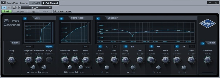 Built- In Effects 13.8 Mixing 13.8.6 Native Fat Channel Plug- in This new plugin is a complete virtual version of the channel strip found on the StudioLive 32.4.