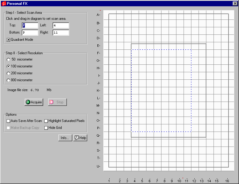 Personal Molecular Imager FX Fig. 10-2. Personal FX acquisition window The default scanning window is marked by grid lines that divide the area into quadrants.